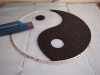 Ying Yang Symbol Stein Teppich Schablone